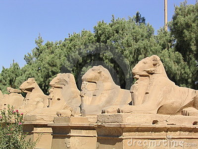 Entrance statues in Karnak temple (Egypt)