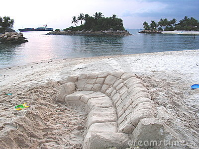 Sand couch at beach