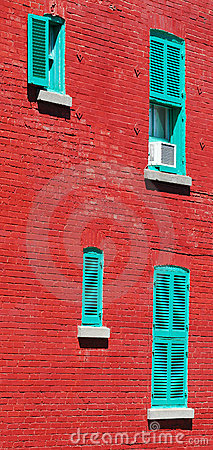 Typical red brick wall in Montreal, Canada