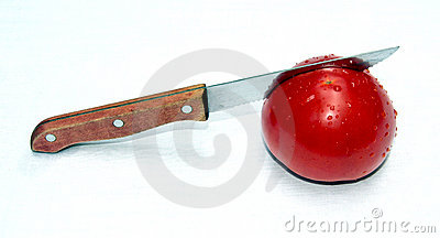 Cutting the fresh tomato