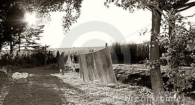 Washing line in countryside