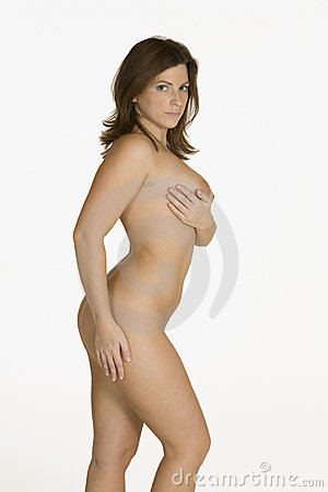 Beautiful Caucasian woman posing nude on white background