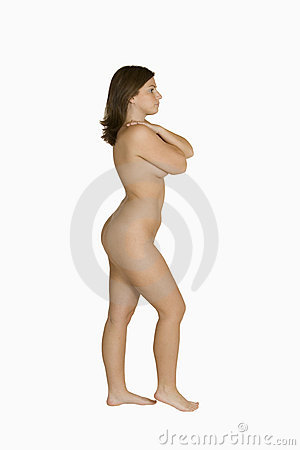 Beautil Caucasian woman posing nude on white background