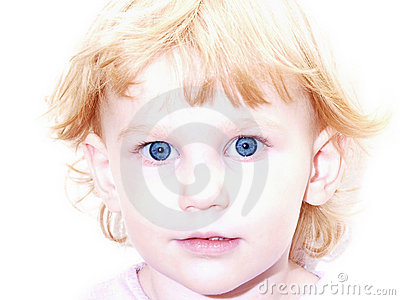 Blue Eyed Girl with Strawberry Blond Hair