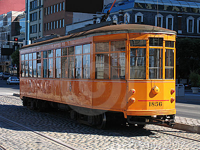 San Francisco Street Car on Cobblestone Road