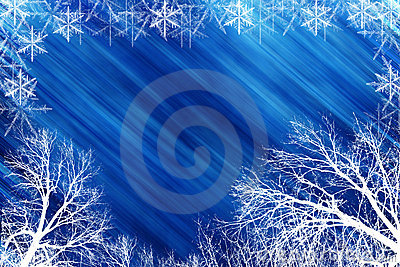 Winter scene with blue backround