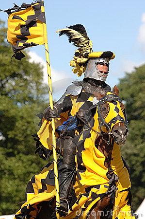 Medieval knight riding a horse