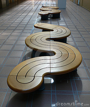 Row of modern benches