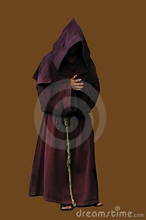 Monk isolated on brown backdrop