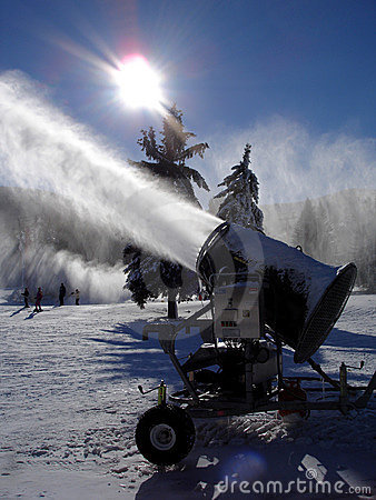 Snowmaking machine in action