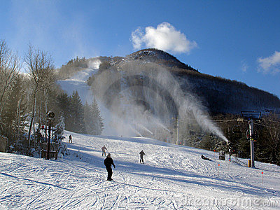 Sunny day on Hunter Mountain ski resort, NY