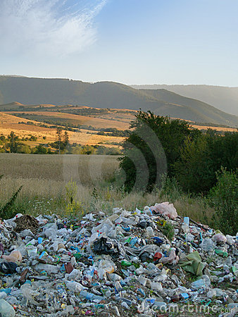 Waste and beautiful landscape - environment crisis