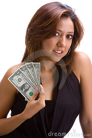 Girl with dollar bills