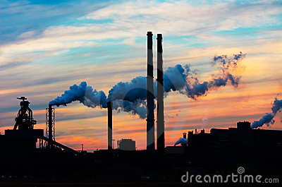 stock image of sunset industry