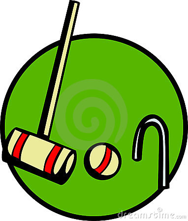 Croquet game with mallet, wicket and ball. Vector