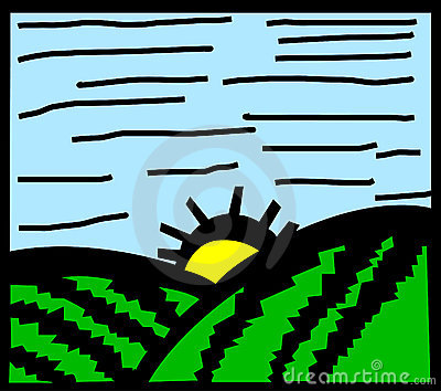 morning or afternoon field in spring. Vector
