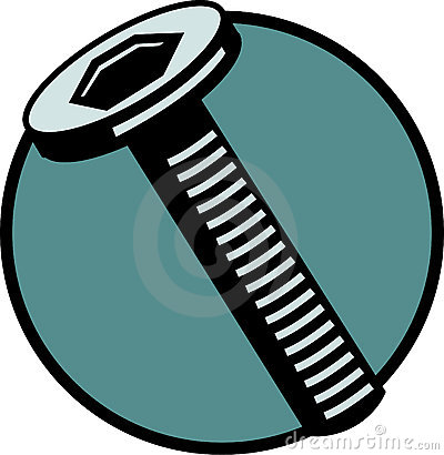 Hex threaded bolt or screw. Vector file available