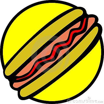 hotdog with bread, sausage and ketchup. Vector