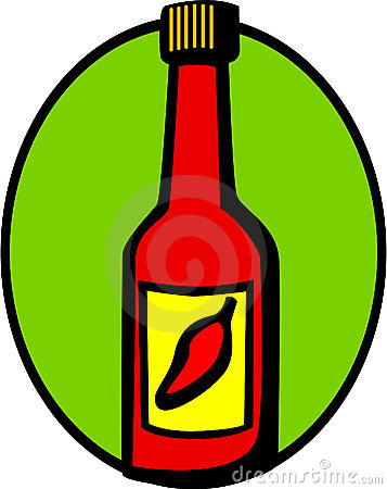 Hot sauce with red chili pepper in label. Vector