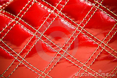 Red leather of the bag