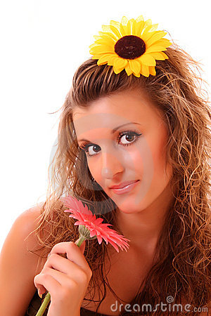 Happy woman with sunflower