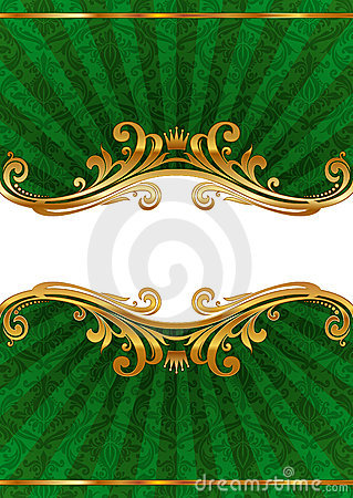 Luxury ornate illustration with golden frame