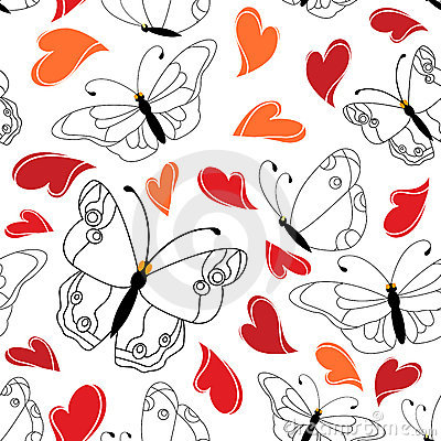 Heart and butterfly seamless pattern
