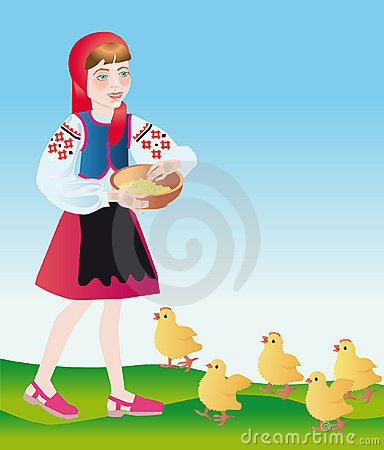 A poultry-maid feeds chickens