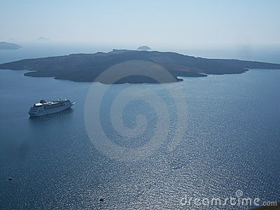 Greek island of Santorini and cruiser