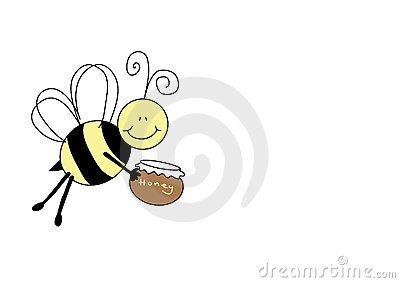 Nice bee holding pot of honey
