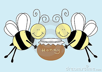 Bees holding a pot of honey