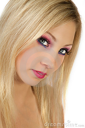 Beautiful Blond With Dramatic makeup