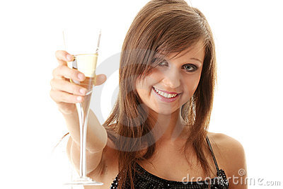 Young happy woman with champagne