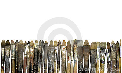Old dirty paintbrushes