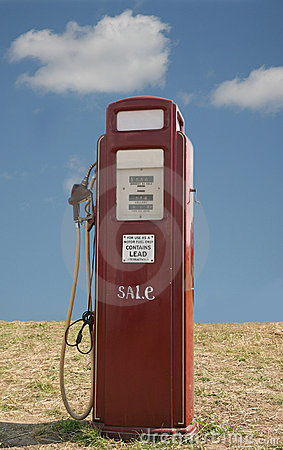 Red 1950's era petrol pump