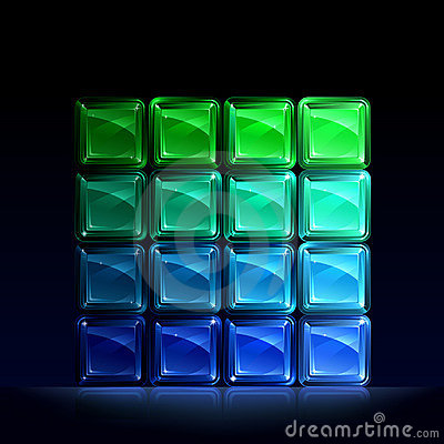 Green and blue glass blocks