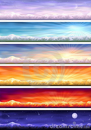 Day cycle - six landscapes at different time