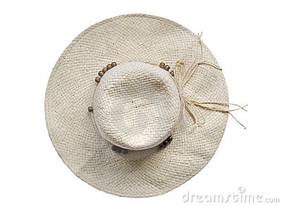 Summer straw hat on white background - top view