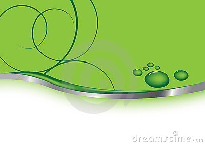 Green business card - waterdrops