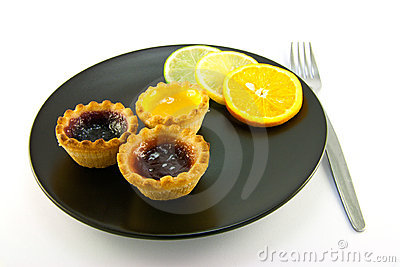 Jam Tarts with Citrus Slices and Fork