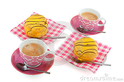 Yellow cakes and coffee