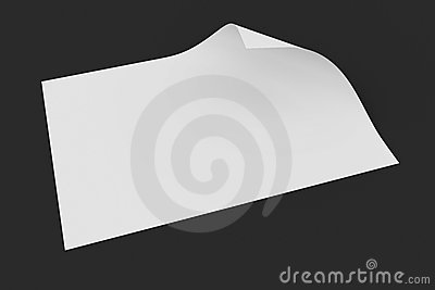 Blank paper with page curl on dark background