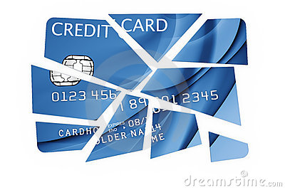 Credit card cut into pieces
