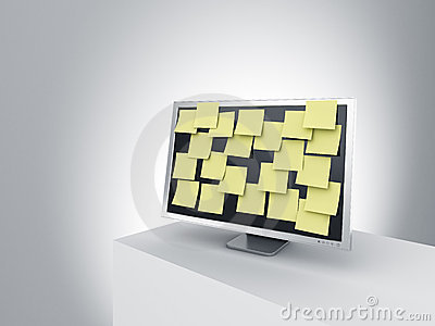 Monitor on a podium with post it notes.