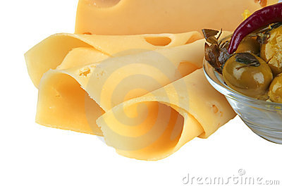 Slices of yellow cheese with olives