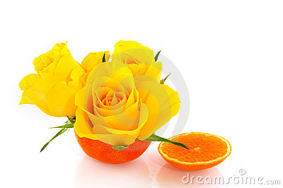 Tangerine with flowers