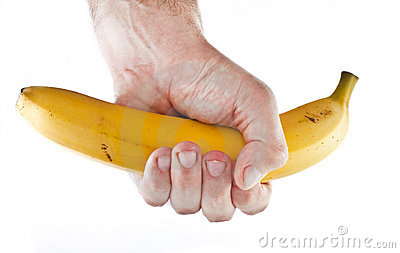 Firm grip on a banana.