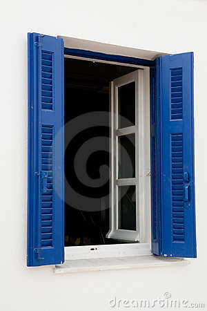 Greek blue window