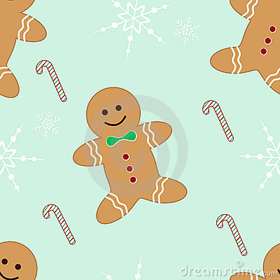 Seamless gingerbread candycane and snowflakes