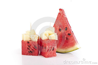 Watermelon cubes with bits of pineapple